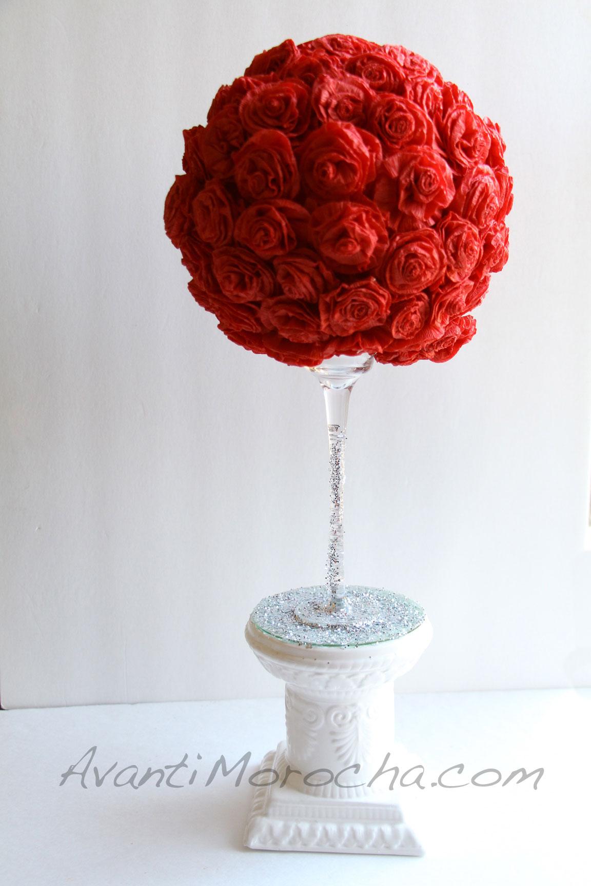 Paper Rose Topiary Adorno De Rosas Papel Crepe
