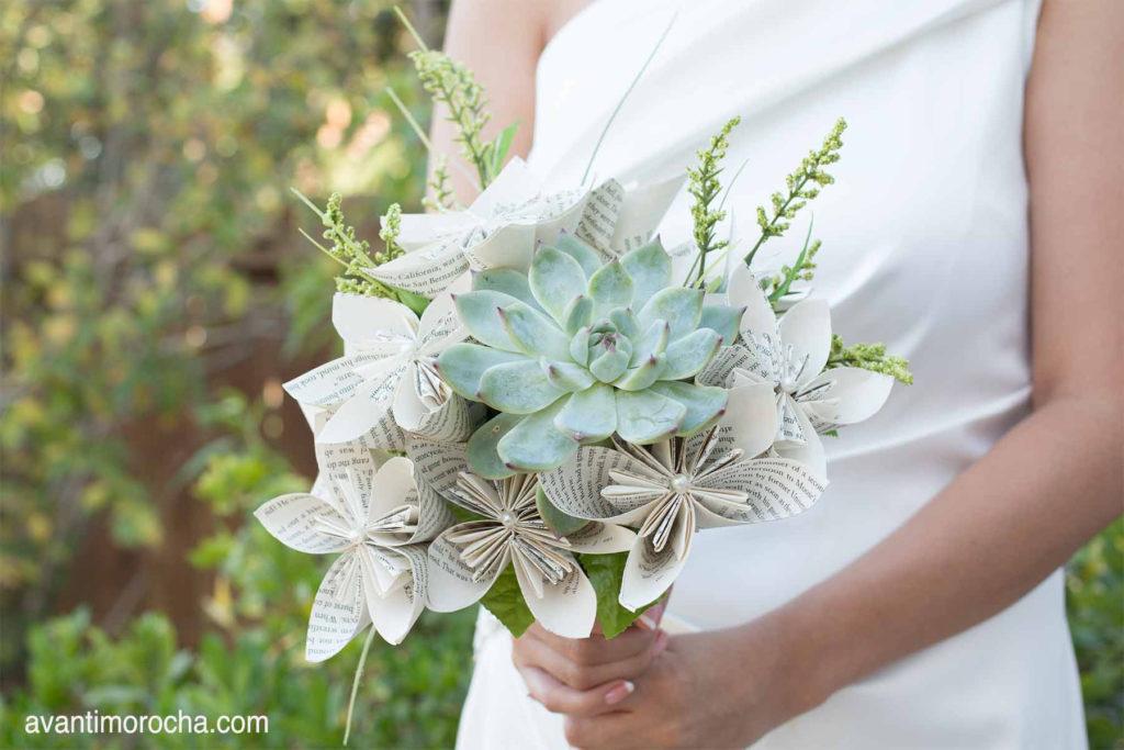DIY Wedding Bouquet with Paper Flowers & Succulent