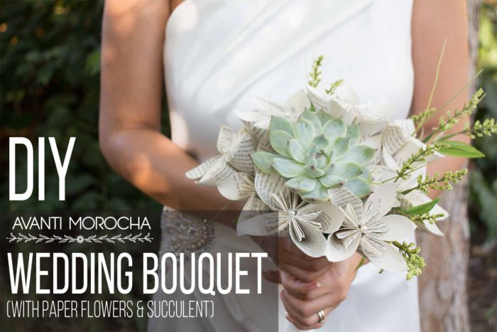 DIY Wedding Bouquet with Paper Flowers & Succulent