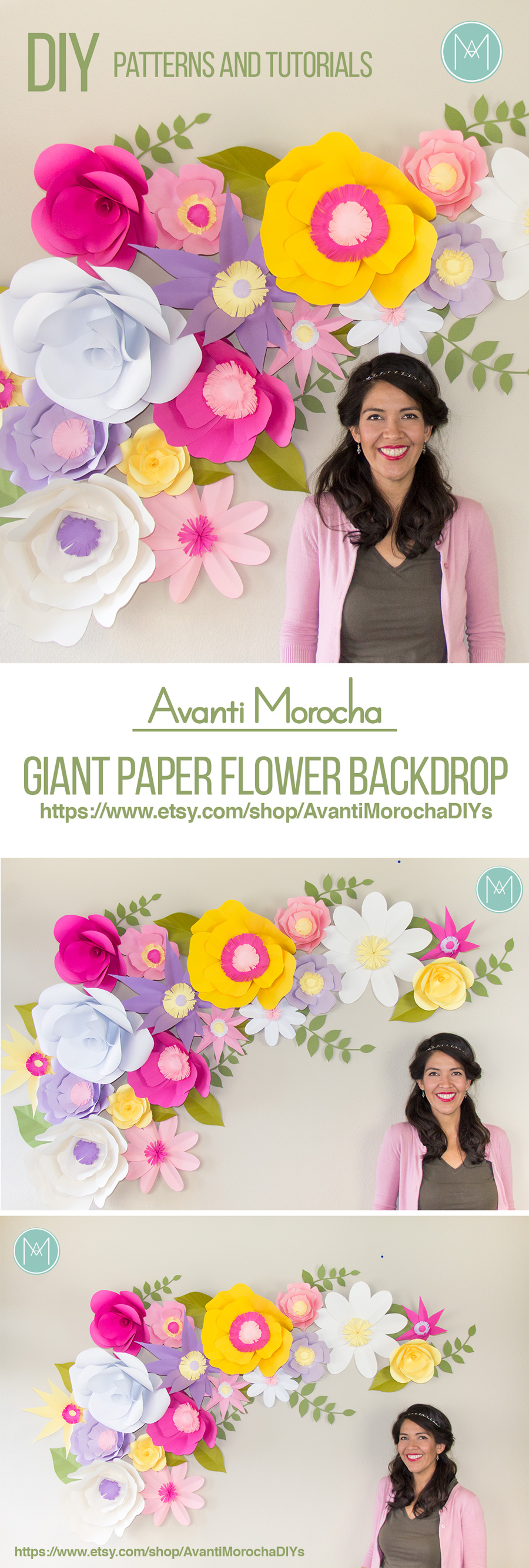 Diy Full Giant Paper Flower Backdrop Avanti Morocha