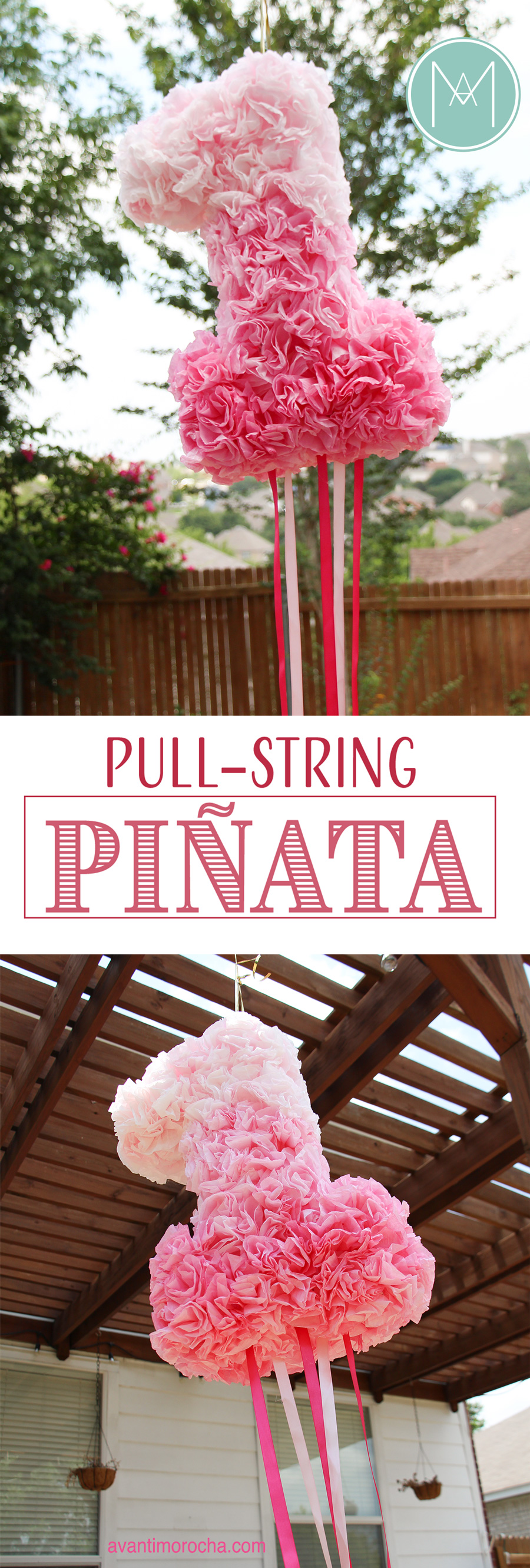 DIY Pull-String Piñata with coffee filters