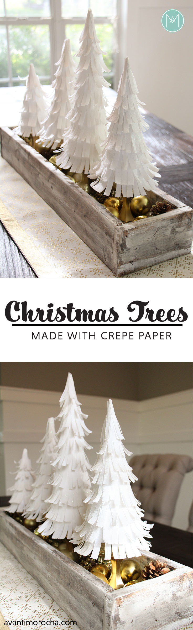 DIY Crepe Paper Christmas Trees