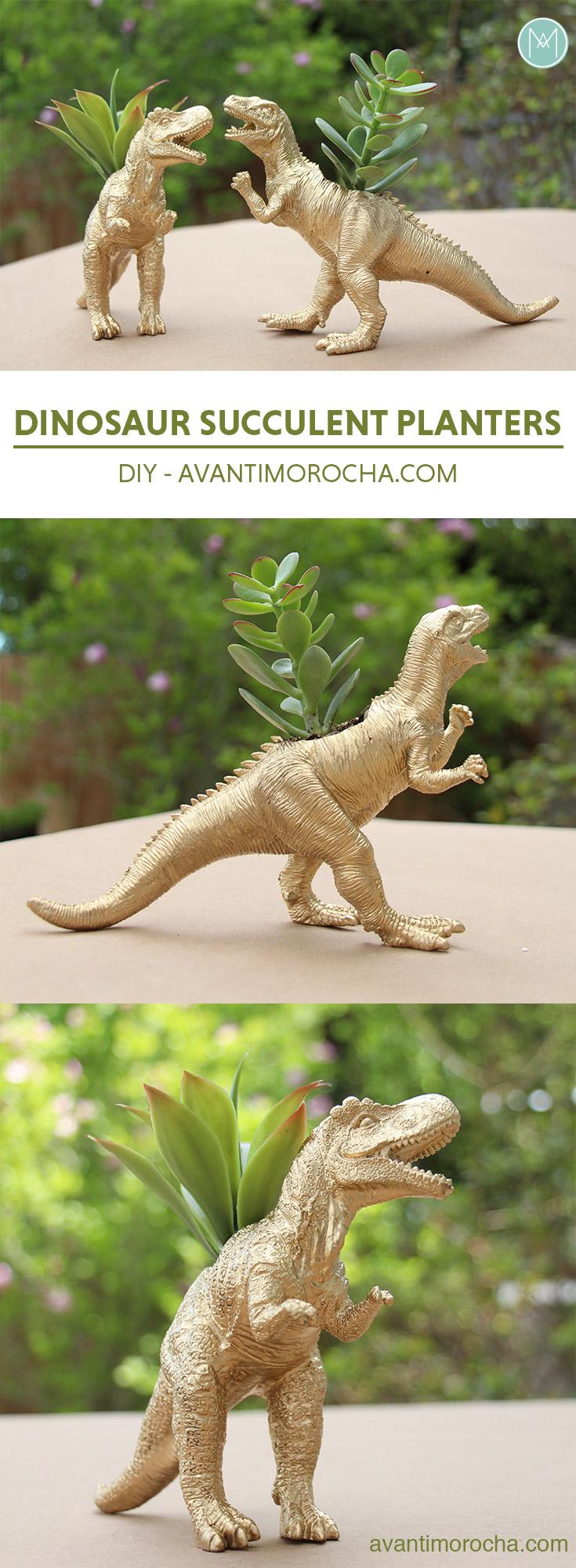 DIY Dinosaur Succulent Planter