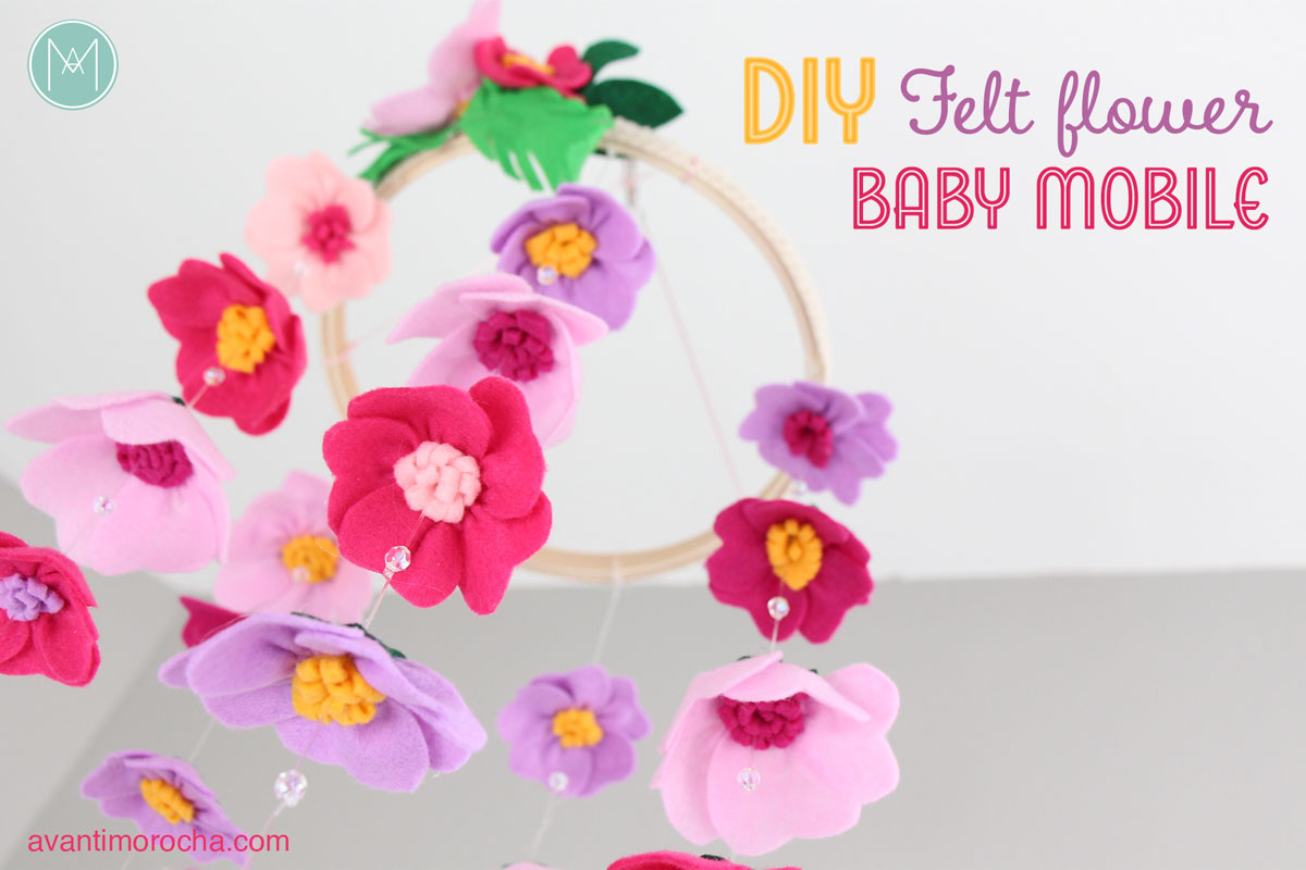 Diy felt flower baby mobile movil de flores de fieltro for Diy felt flower mobile